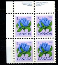 Canada MNH Plate Block #705 Floral defins 1c Gentian 1977 UL K053
