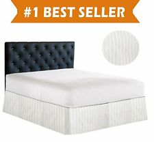 1000 TC Egyptian Cotton Box Pleat Bedskirt Bed Valance White Stripe