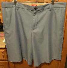 Izod NWOT Mens Golf Shorts Size 38 Polyester Flat Front Chino Blue/Gray New