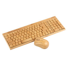 Wireless Handcrafted Bamboo PC Keyboard and Mouse Combo High Quality Yellow Q5H0