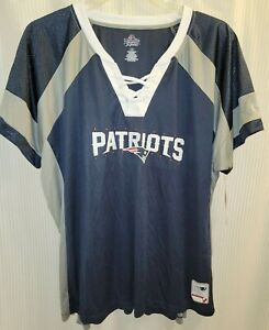 Women's Majestic Fan Fashion New England Patriots Short Sleeve Top Plus Size 1X