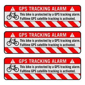 3x GPS Aufkleber Fahrrad Tracking Alarm Warnaufkleber Bike Anti Theft Sticker