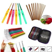 Colorful Aluminum Metal Plastic Bamboo Crochet Hooks Yarn Knitting Needles Set