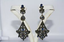 $9500 7.57CT NATURAL BLUE SAPPHIRE & COGNAC DIAMOND CHANDELIER EARRINGS 14K/.925