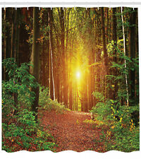 Forest Shower Curtain Pathway to Timberland Print for Bathroom 70 Inches Long