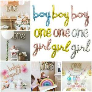 One Boy Girl Letter Foil Balloons Baby Shower Party Decor Supplies Colorful