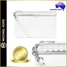 Genuine Michael Kors Analise Large Zip Top Leather Envelope Clutch Bag White$199