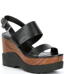 New Michael Kors Rhett Wedge Black Leather Sandals 9 M