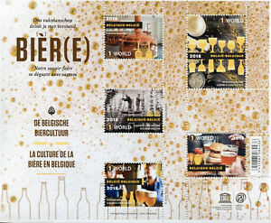 Belgium 2018 MNH Belgian Beer Culture 5v M/S Gastronomy Traditions Stamps