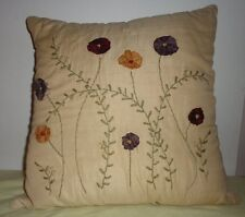 Beige Appliqued Floral Embroidered Leaves Design Square Throw Pillow Linen Feel
