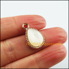 12 New Teardrop Charms White Resin Pendants KC Gold Plated 13x21mm