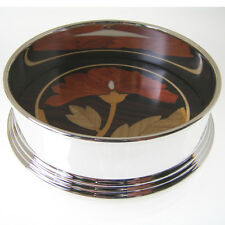 SILVER PLATE WINE COASTER. SILVER PLATED BOTTLE COASTER WITH INLAID ROSEWOOD.