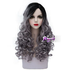 60CM Black Mixed Grey Long Curly Hair Lolita Lady Party Ombre Cosplay Wig + Cap