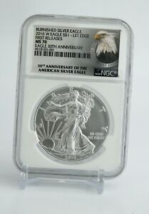 2016-W American Silver Eagle NGC MS70-BURNISHED First Release 30TH Anniversary!