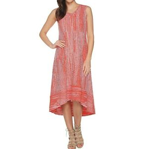 H by Halston Scoop Neck Printed Sleeveless Hi-Low Dress (Cayenne, PM) A306907