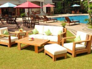 SSCN Grade-A Teak Wood 6Pc Sofa Lounge Chair Coffee Table Furniture Set