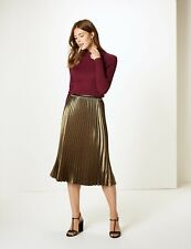 M&S Gold  Pleated Midi Skirt Plus Size 22 Long NEW