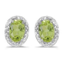 10k White Gold Oval Peridot And Diamond Earrings