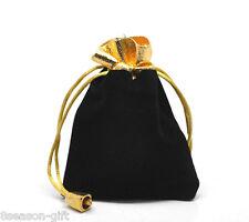 HX 10PCs Black Velvet Drawstring Pouches Jewelry Gift Bags 12x9cm