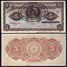 Paraguay 5 Pesos 1912 WITH OVERPRINT - RARE - P 127 - UNC