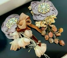 Vintage Flower Corsage Pin Embellishment Silk Satin 1 Piece Made in Japan