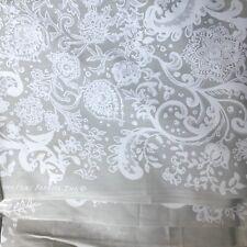 Vtg Rococo By Zuzek Grey White Key West Hand Print Fabric 60s 45x89 Cotton USA