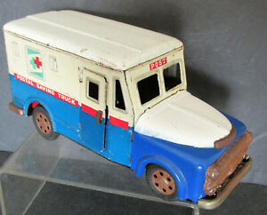 US Postal Saving Truck Coin Bank and Friction Tin Toy Truck Made In Japan By SSS