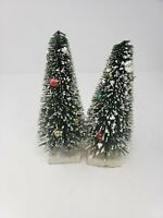 Lot of 2 Small Decorated Snowy Christmas Pine Trees w/ Comics on the Bottom