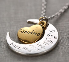 Grandma I Love You To The Moon And Back Silver Gold Tone Necklace Holiday Gift
