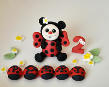 HANDMADE EDIBLE LADYBIRD CAKE DECORATION TOPPER BIRTHDAY  BOY ~ GIRL TEDDY