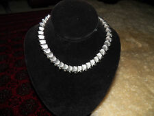 Vintage statement runway modernist Napier silver tone collar necklace