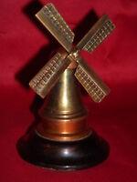 WINDMÜHLE Kupfer & Messing Holzsockel Art Deco 12cm