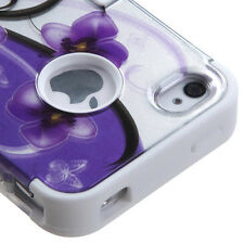 for iPhone 4 4G 4S -Purple White Flower Dual Layer Hard & Soft Rubber Armor Case