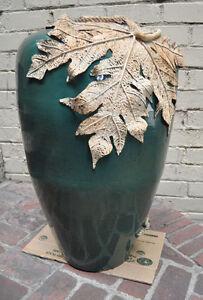 """Large Ceramic Vase Green Speckled Black Leaf Rope Decoration 32"""""""