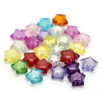 200 Mix Klar Acryl Sterne Spacer Perlen Beads für Armband 12x11mm