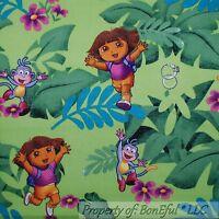 BonEful Fabric FQ Cotton Quilt Green Purple DORA Jungle Safari Leaf Boots Monkey