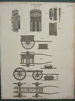 1808 Datierter Antik Aufdruck ~ Artillerie Wagen Sektionen Räder