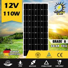 12V 110W Solar Panel Kit Mono Generator Caravan Camping Battery Charging 100watt
