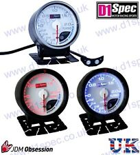 D1 SPEC UNIVERSAL TURBO BOOST GAUGE 2 BAR 52mm WHITE Dial JDM RACING RALLY DRIFT