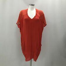 Helmut Lang Dress Size UK P 18-20 Knee Length Orange Red Drape Women's 290128