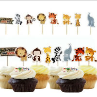 24 pcs Wild Animal Zoo Party Cupcake Topper Picks Decor For Kids Child Birthday/
