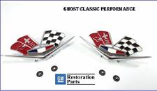 1962 1963 Chevy Impala Belair Front Fender Emblem Flags Pair 327 409 Corvette