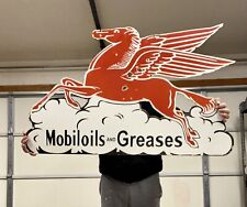 "Huge large Porcelain Pegasus Mobil Oil DOUBLE SIDED 42""x25"" Enamel Sign"