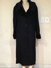 Women's Winter black faux fur trim Wool blend long coat jacket plus Tag XL $320