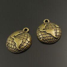 03123 Vintage Bronze Tone Alliage pendentif globe terrestre carte charme trouver hot 80pcs