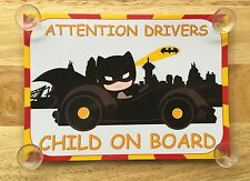 Child Dressed As Batman In Car Child On Board Car Laminated Sign
