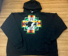 Vintage Hanes Buffalo Indian Aztec Pendleton Style Hoodie Sweatshirt Large