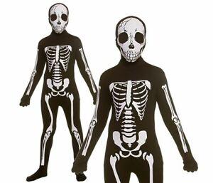 Kids DELUXE SKELETON SKINZ Jumpsuit Bones Unisex Fancy Dress Child Halloween