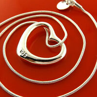 Necklace Chain Real 925 Sterling Silver S/F Snake Link Heart Pendant Design
