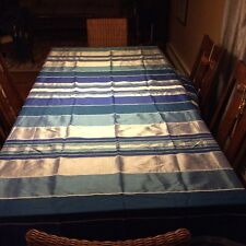 "Beautiful Tablecloth from Greece Blue Stripes 67"" wide by 115"" long"
